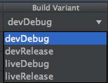 Build variant panel - devDebug