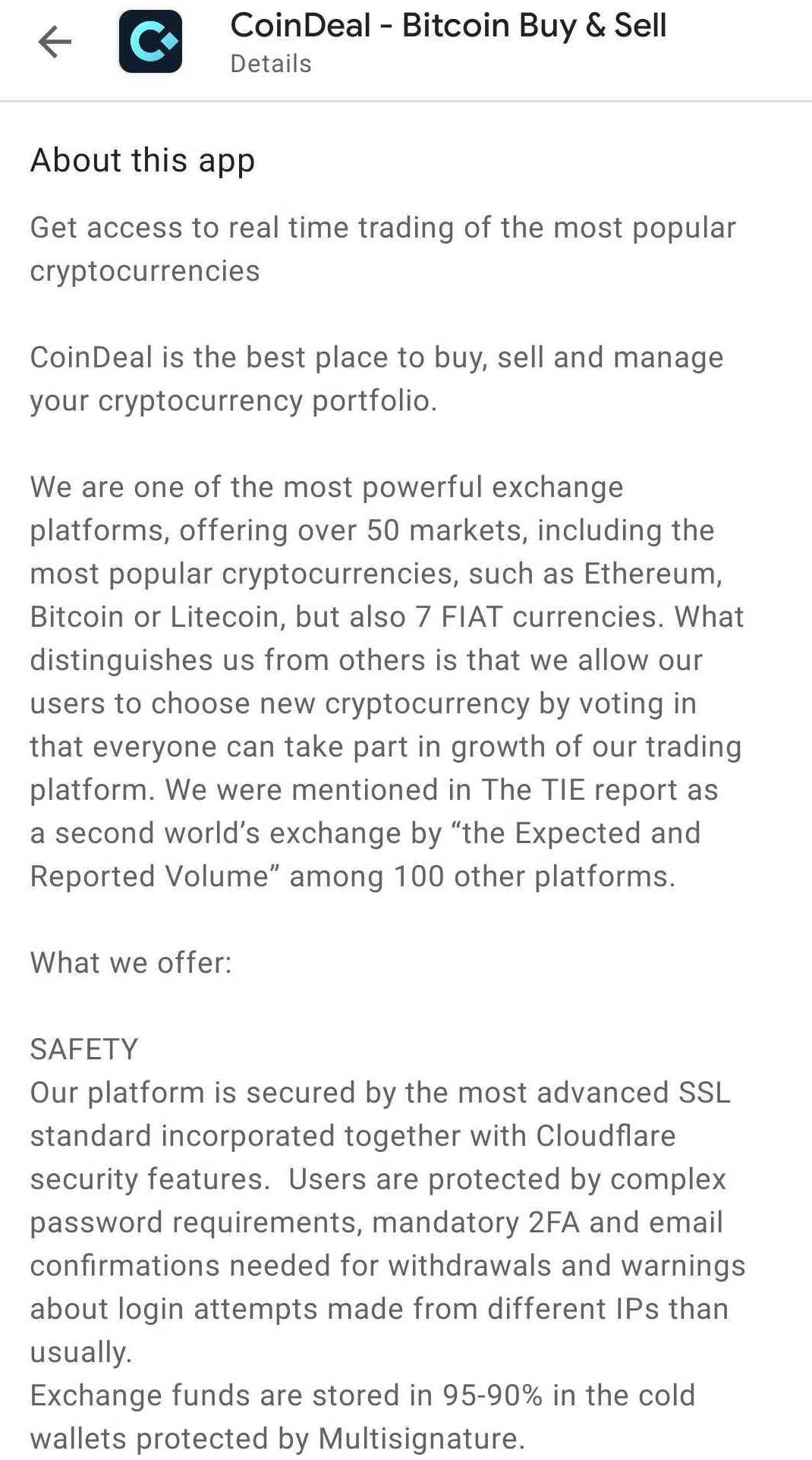 CoinDeal in Google Play store - long description